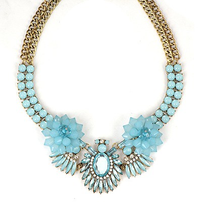 Quicksilve Blue Beads Flower Decorated Double Layer Design Alloy Bib Necklaces