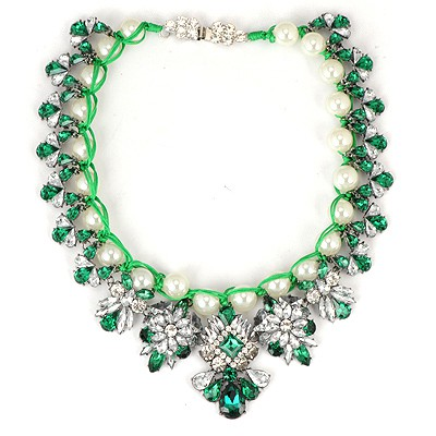 Splendid Green Pearl Weave Gemstone Flower Design Alloy Bib Necklaces