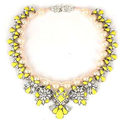 Expired Yellow Pearl Weave Gemstone Flower Design Alloy Bib Necklaces