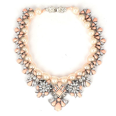 Venetian Pink Pearl Weave Gemstone Flower Design Alloy Bib Necklaces