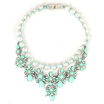 Awesome Green Gemstone Flower Decorated Weaving Pearl Chain Alloy Bib Necklaces