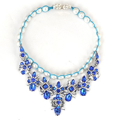 Plain Blue Gemstone Flower Decorated Weaving Pearl Chain Alloy Bib Necklaces