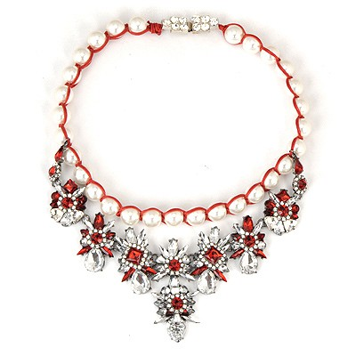 Blank Red Gemstone Flower Decorated Weaving Pearl Chain Alloy Bib Necklaces