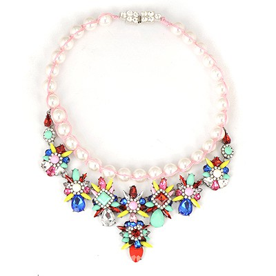 Rolling Multicolor Gemstone Flower Decorated Weaving Pearl Chain Alloy Bib Necklaces