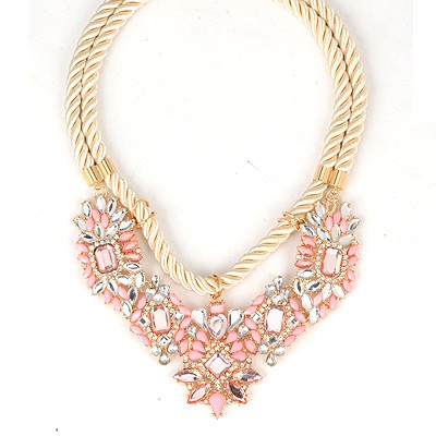 Bohemian Pink Geometric Gemstone Pendant Double Rope Design Alloy Bib Necklaces