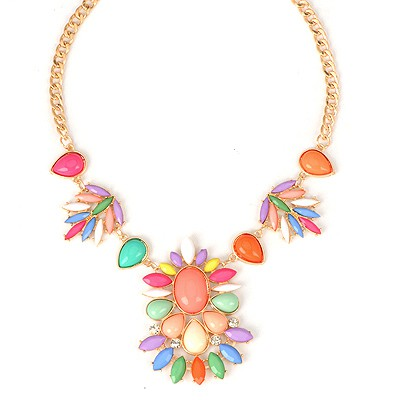 Handmade Multicolor Bohemia Style Flower Design Alloy Bib Necklaces