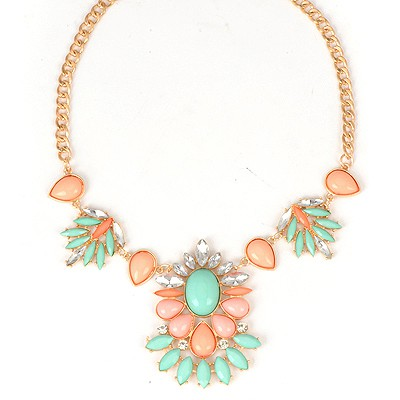 Top Rated Blue Bohemia Style Flower Design Alloy Bib Necklaces