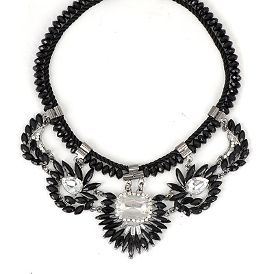 Lucky Black Irregular Gemstone Decorated Alloy Bib Necklaces