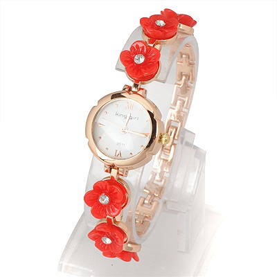 Discount Red Six Flowers Decorated Simple Design Alloy Ladies Watches