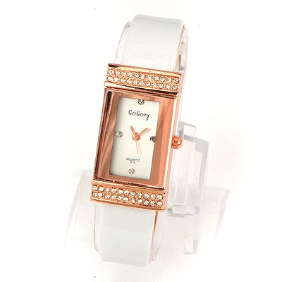 Bohemian White Diamond Decorated Rectangle Design Alloy Ladies Watches