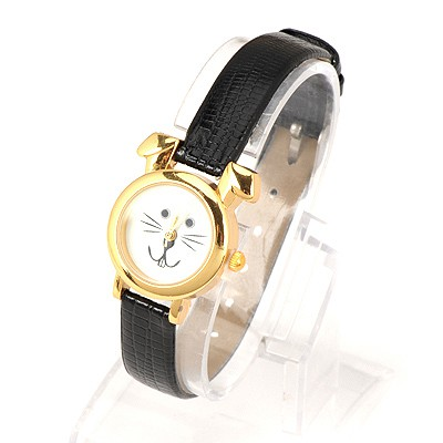 Famale Black Thin Belt Cartoon Rabbit Design Alloy Fashion Watches