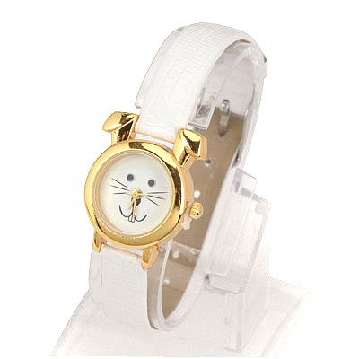 Birthing White Thin Belt Cartoon Rabbit Design Alloy Ladies Watches