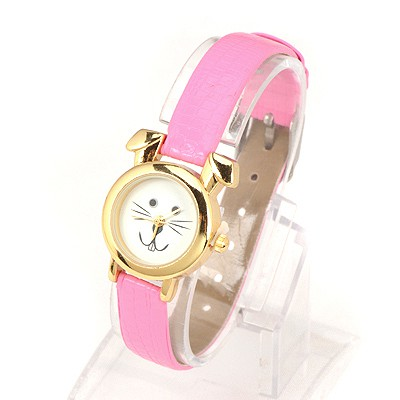 Ethnic Pink Thin Belt Cartoon Rabbit Design Alloy Ladies Watches