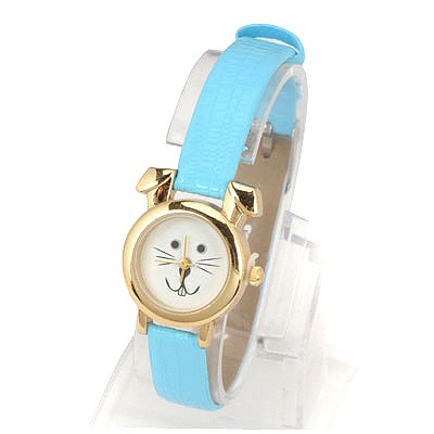 Teen Blue Thin Belt Cartoon Rabbit Design Alloy Fashion Watches