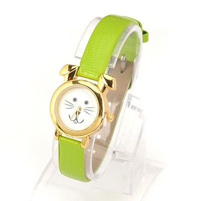 Turkish Green Thin Belt Cartoon Rabbit Design Alloy Ladies Watches