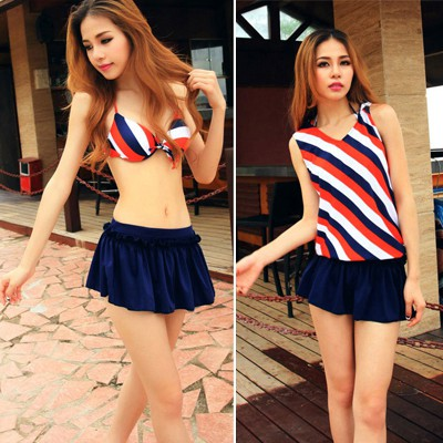 Stretch Picture Color Stripe Design Polyester Sexy Bikini
