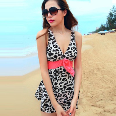 Harry Picture Color Leopard Grain Fold V Neck Design Polyester Monokini