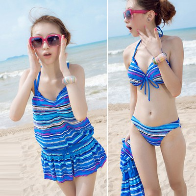 Stronglite Blue Colorful Stripe Conservative Polyester Sexy Bikini
