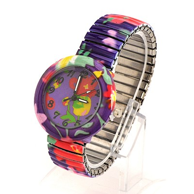 Marvelous Purple Flower Pattern Round Shape Design Alloy Fashion Watches