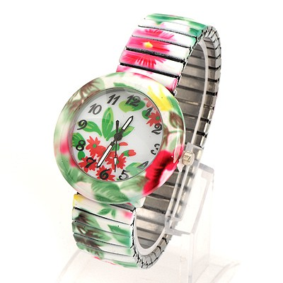 Dash Green Flower Pattern Round Shape Design Alloy Fashion Watches