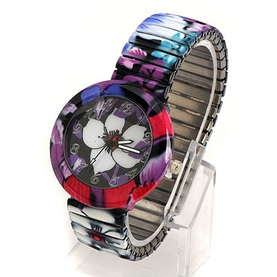 Mink White Flower Pattern Round Shape Design Alloy Fashion Watches