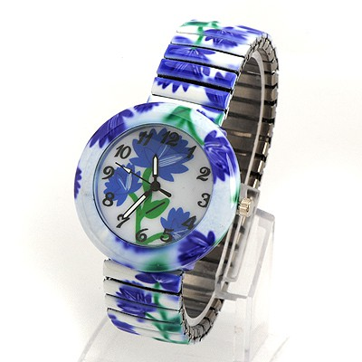 Eatable Dark Blue Flower Pattern Round Shape Design Alloy Fashion Watches