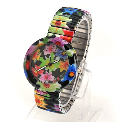 Premier Multicolor Flower Pattern Round Shape Design Alloy Fashion Watches
