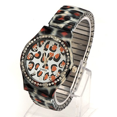 Punk White Leopard Belt Digital Time For Men Alloy Fashion Watches