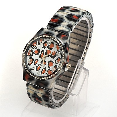 Aamazing White Leopard Belt Digital Time For Women