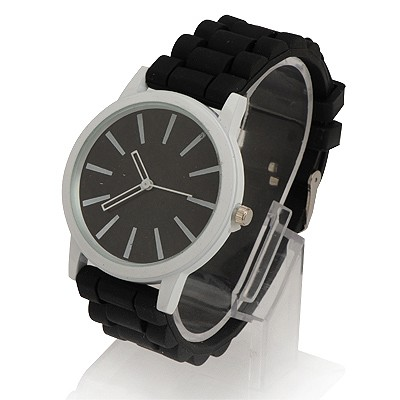 Faddish Black Jelly Color Simple Design Alloy Ladies Watches