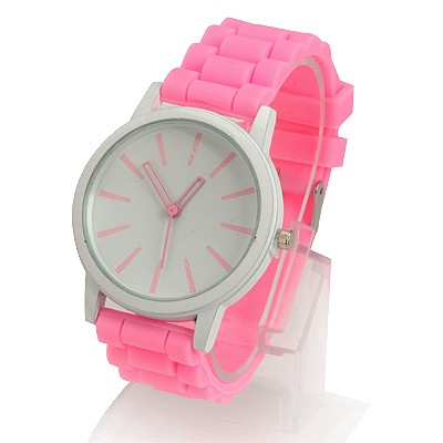 Friendship Pink Jelly Color Simple Design Alloy Ladies Watches