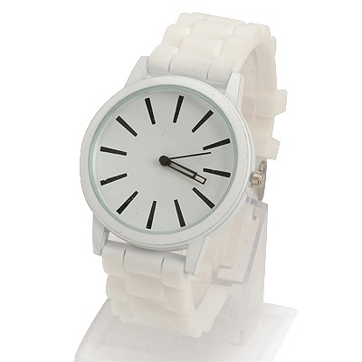 Fingerprin White Jelly Color Simple Design Alloy Ladies Watches