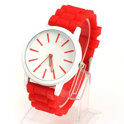 Aquamarine Red Jelly Color Simple Design Alloy Ladies Watches