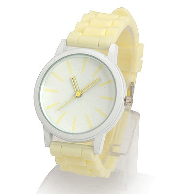 Aluminium Light Yellow Jelly Color Simple Design Alloy Ladies Watches