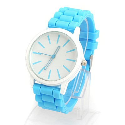 Flamenco Blue Jelly Color Simple Design Alloy Ladies Watches
