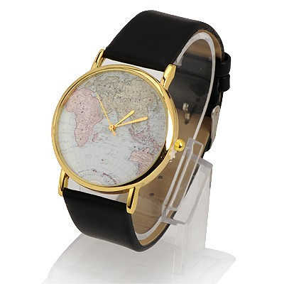 Easter Black World Map Pattern Design Alloy Fashion Watches