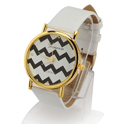 Teen White Water Ripples Pattern Round Shape Design Alloy Fashion Watches