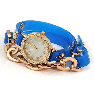 Greek Blue Inlaid Drill Bracelet Style Alloy Ladies Watches