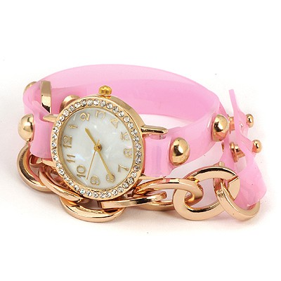 Western Pink Inlaid Drill Bracelet Style Alloy Ladies Watches