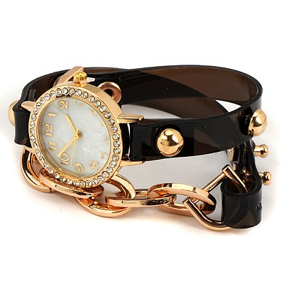 Layered Black Inlaid Drill Bracelet Style Alloy Ladies Watches