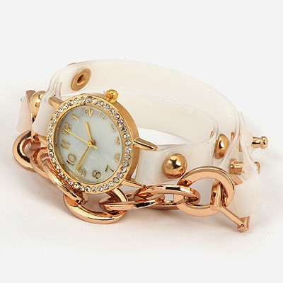 Tory White Inlaid Drill Bracelet Style Alloy Ladies Watches