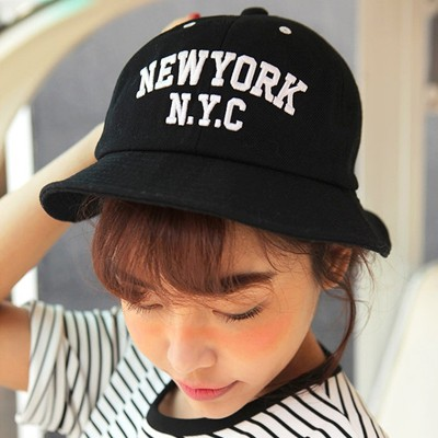 Bulk Black Letter NYC Embroidery Design Canvas Sun Hats