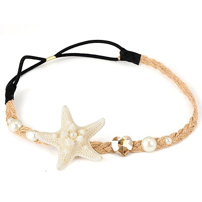Rebel White Sea Star&Pearl Decorated Hemp Rope Hair band hair hoop