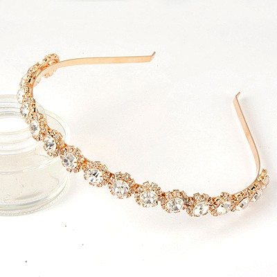 Heavy Gold Color Sparkly Diamond Flower Decorated Alloy Hair band hair hoop