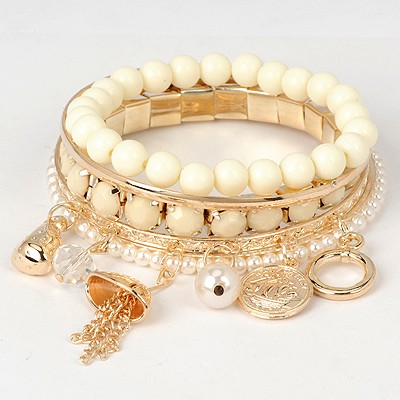 Mechanical Beige Multielement Decorated Beads Weave Design Alloy Korean Fashion Bracelet