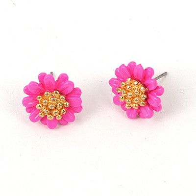 Cool Plum Red Chrysanthemum Shape Design Alloy Stud Earrings