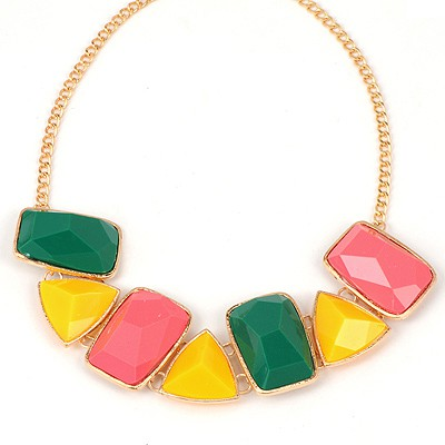 Pretty Multicolor Irregular Gemstone Patchwork Design Alloy Bib Necklaces