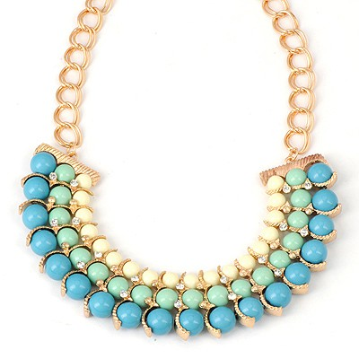 Roller Blue Three Layers Beads Decorated Alloy Bib Necklaces