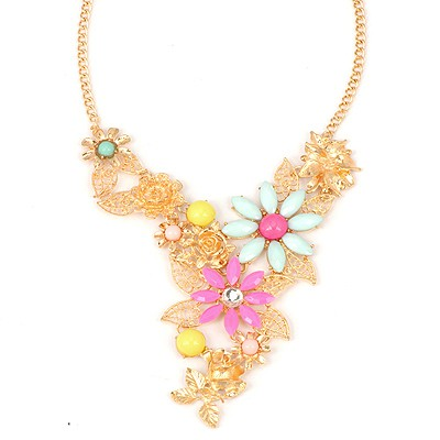 Charming Multicolor Luxury Leaf Flower Decorated Alloy Bib Necklaces