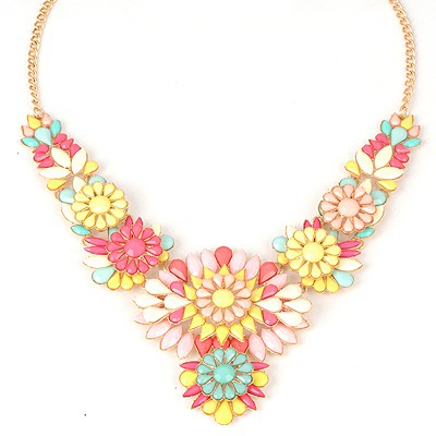 Long Multicolor Sweet Flower V Shape Design Alloy Bib Necklaces
